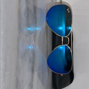 Ray-Ban Accessories - Blue Mirrored Ray Ban Aviator Sunglasses